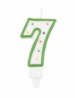 Torten-Kerze Zahl 7 mit Kerzenhalter bunt 7,5cm