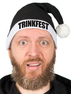 Witzige Anti-Weihnachtsmütze TRINKFEST Nikolausmütze schwarz-weiss