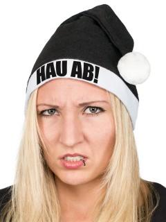 Witzige Anti-Weihnachtsmütze HAU AB! Nikolausmütze schwarz-weiss