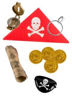 Kostümzubehör-Set Pirat für Jungen 6-teilig bunt