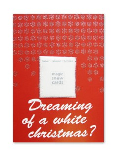 Weihnachtskarte Dreaming of a white Christmas mit Kunstschnee rot-weiss-silber 14,5x10,5cm