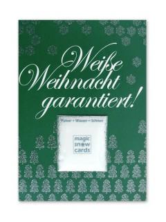 Weihnachtskarte Weisse Weihnacht garantiert mit Kunstschnee grün-weiss-silber 14,5x10,5cm