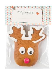 Rentier-Lebkuchen Weihnachtsgebäck braun-weiss-rot 35g