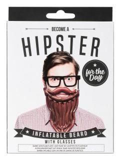 Aufblasbarer Hipster Bart mit Brille Scherzartikel braun-schwarz