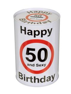 Metall-Spardose Happy Birthday 50 Geburtstagsgeschenk weiss-schwarz-rot 15x10cm