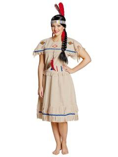 Indianerin Damenkostüm Wilder Westen beige-blau-rot