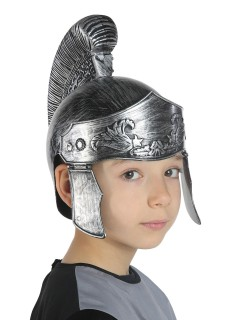 Gladiatoren-Helm für Kinder Kostümzubehör Römer silber-grau