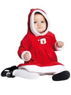 Kleine Weihnachtsfrau Babykostüm Weihnachten rot-weiss