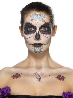 Tag der Toten Make-Up Tattoo-Set bunt