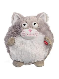 Süsse Stofftier-Katze mit Sound und Bewegung grau-weiss 18,5cm
