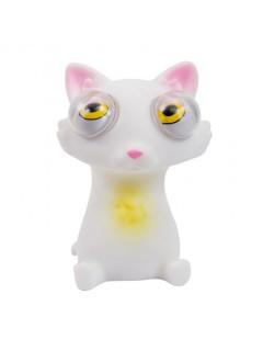 Gummi-Tier Katze zum Quetschen mit Sound weiss 7x6cm