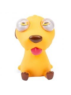 Gummi-Tier Hund zum Quetschen mit Sound gelb 7x6cm