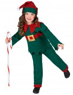 Süsser Weihnachtself Kinderkostüm grün-rot