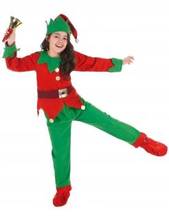 Weihnachtself Kostüm für Kinder rot-grün