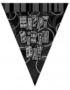 Happy Birthday Wimpel-Girlande schwarz-weiss