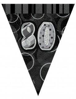 Wimpelgirlande Zahl 80 Geburtstagsdeko schwarz-grau 2,74m