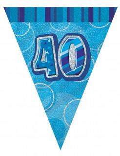 Blaue Wimpelgirlande 40 Jahre 2,74m