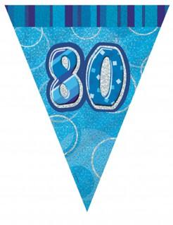 Wimpelgirlande 80 Jahre blau-silbern