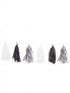 Partygirlande mit Pompons schwarz-weiss-silber 2,74m