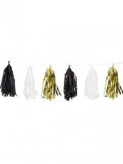 Glänzende Quasten-Girlande schwarz-weiss-gold 2,74m