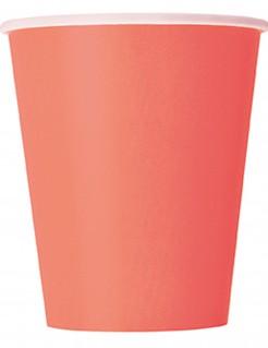 Pappbecher Party-Tischdeko 14 Stück koralle 270ml