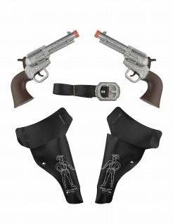 Wilder Westen Set für Kinder 2 Pistolen mit Etuis und Gürtel schwarz-braun-silber