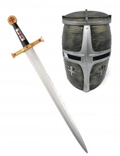 Helm und Ritterschwert für Kinder silber-gold
