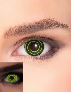 Leuchtende Kontaktlinsen Wirbel-Motiv Hypnotische UV-Kontaktlinsen grün