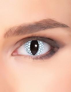 Drachenaugen-Kontaktlinsen Fantasy-Kontaktlinsen mit Schuppen-Motiv weiss