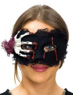 Halloween-Damenmaske mit Skeletthand schwarz