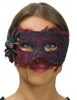 Halloween-Damenmaske mit Spinne lila