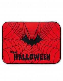 Halloween-Fussmatte Spinnennetz mit Licht und Sound rot-schwarz