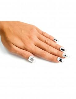 Halloween-Fingernaegel mit Katzen und Spinnen weiss-schwarz