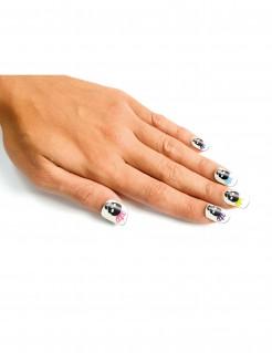 Künstliche Fingernägel Dia de los Muertos Halloween Make-up 24 Stück schwarz-weiss