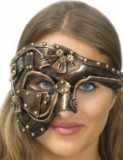 Verzierte Steampunk-Halbmaske für Damen gold