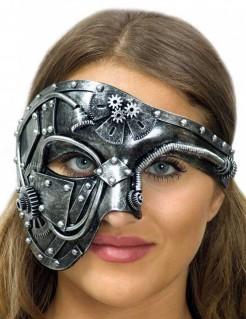Verzierte Steampunk-Halbmaske für Damen silber