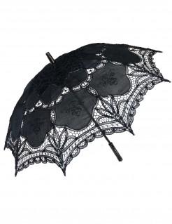 Schirm mit Spitze für Damen Kostümzubehör schwarz