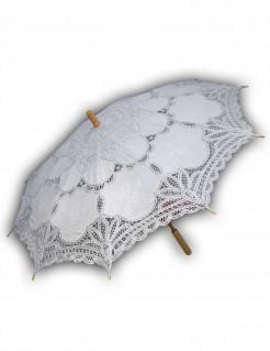 Schirm mit Spitze für Damen Kostümzubehör weiss