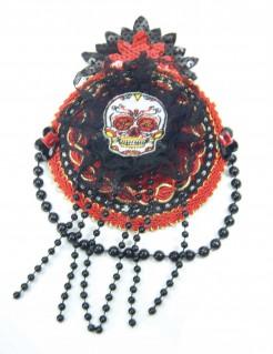Tag der Toten Kopfbedeckung mit Perlen rot-schwarz 20x11cm