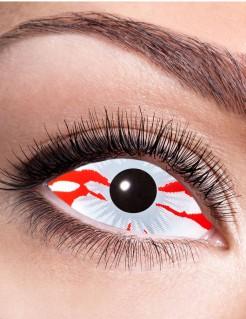 Halloween-Kontaktlinsen Blutauge weiss-rot