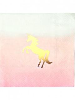 Papierservietten Einhorn 16 Stück pink-minze-gold 25x25cm
