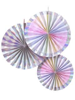 Papier-Rosetten Hängedeko 3 Stück rosa