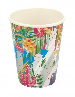 8 Trinkbecher mit Tropical-Motiv bunt