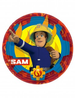 Feuerwehrmann Sam Pappteller 8 Stück - rot/blau/gelb