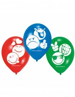 Emoticons™ Latex-Luftballons Partyballons 6 Stück rot-grün-blau