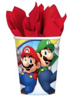 Super Mario™ und Luigi™ Pappbecher Nintendo™ Lizenzartikel 8 Stück bunt 266ml