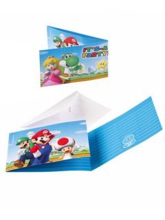 Super Mario™-Einladungskarten mit Umschlägen Nintendo-Mottoparty 8 Stück bunt 8x14cm