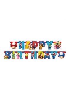 Super Mario™ Geburtstagsgirlande Happy Birthday bunt 1,9m