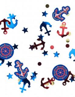 Matrosen-Konfetti JGA-Tischdeko Anker und Sterne blau-rot 34g