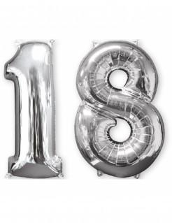 Aluminium-Geburtstagsballon Zahl 18 silber 66cm